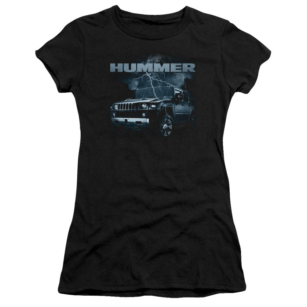 profile-view-of-a-hummer-jeep-being-struck-by-lightning-premium-bella-brand-t-shirt-in-black