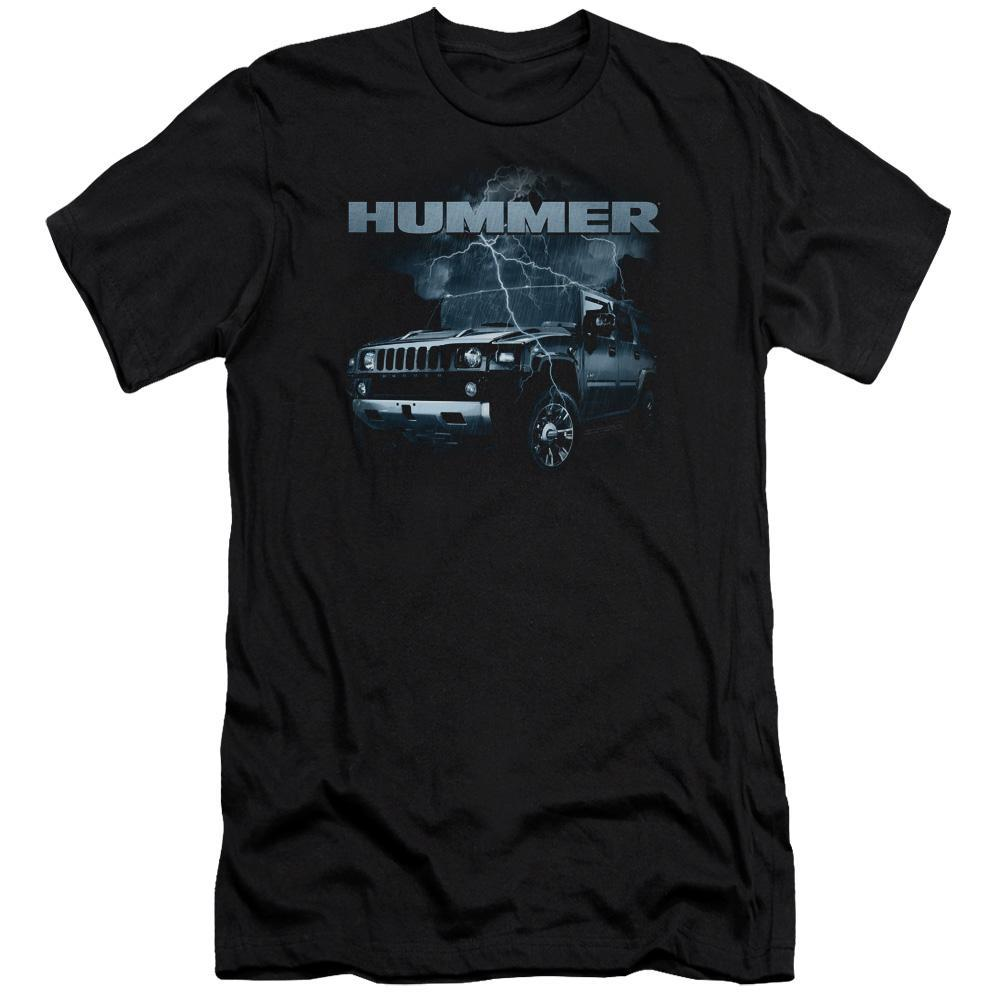 profile-view-of-a-hummer-jeep-being-struck-by-lightning-premium-canvas-brand-t-shirt-in-black