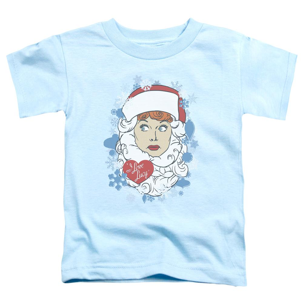 cartoon-of-lucille-ball-wearing-a-santa-beard-and-hat-premium-bella-brand-kids-t-shirt-in-blue