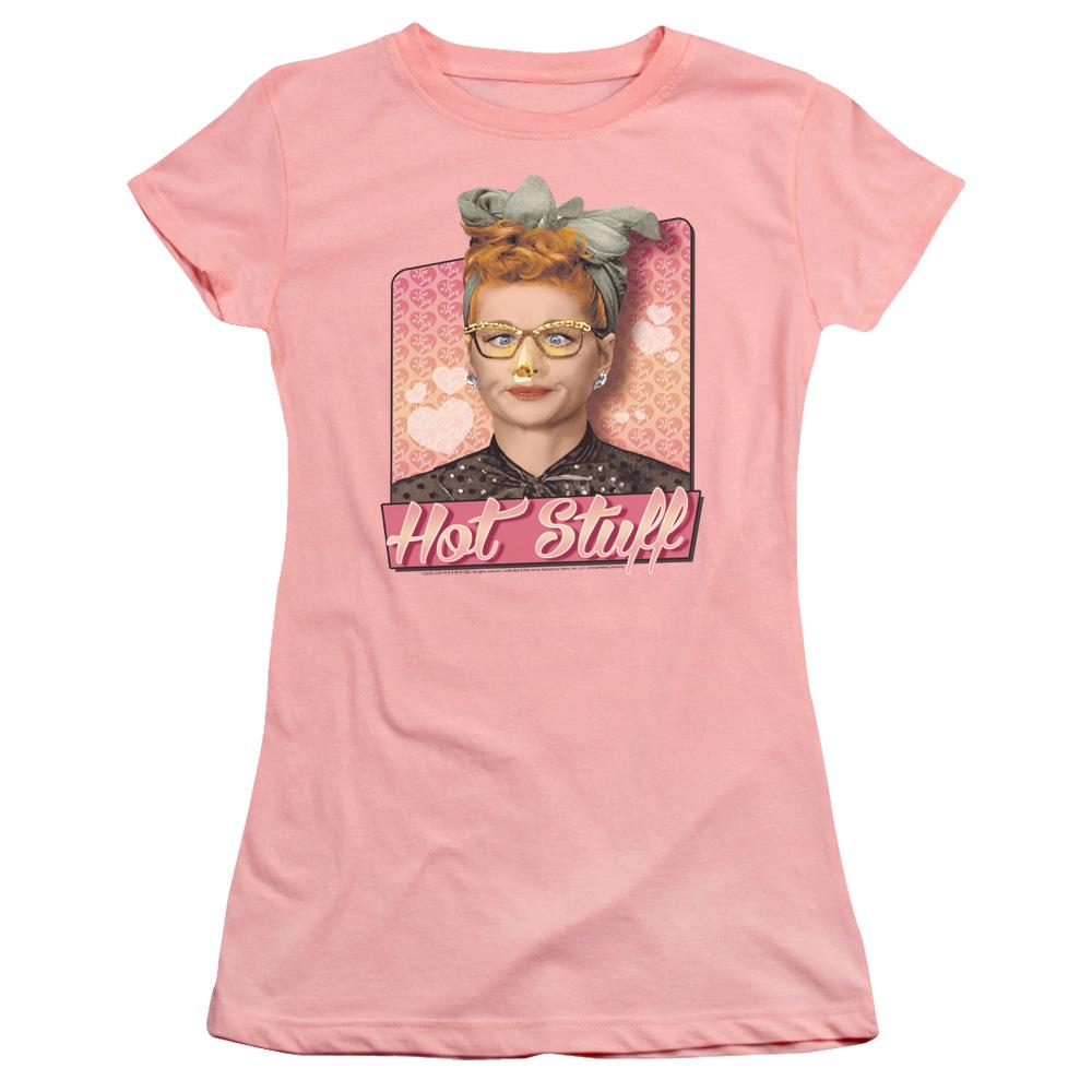 lucille-ball-looking-at-the-tip-of-her-nose-lit-on-fire-hot-stuff-premium-bella-brand-t-shirt-in-pink