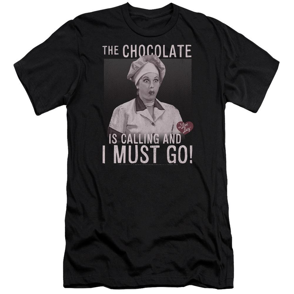 lucille-ball-with-her-mouth-stuffed-with-chocolate-candy-says-chocolate-calling-canvas-premium-brand-t-shirt-in-black