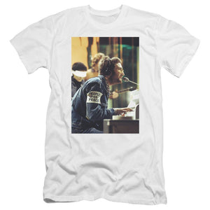 john-lennon-singing-in-front-of-the-piano-premium-canvas-brand-t-shirt-in-black