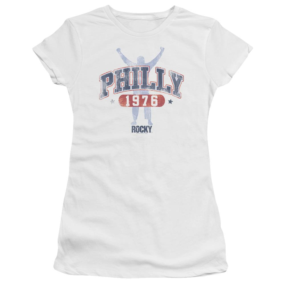 background-shadow-of-rocky-raising-his-hands-in-victory-with-the-words-philly-1976-premium-bella-brand-t-shirt-in-white
