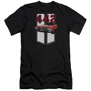 oldsmobile-442-american-muscle-car-superimposed-over-racing-stripes-premium-canvas-brand-t-shirt-in-black