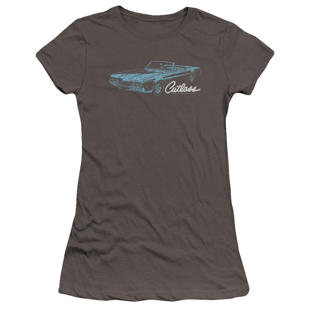 1968-convertible-cutlass-oldsmobile-with-the-word-cutlass-underneath-premium-t-shirt-in-charcoal