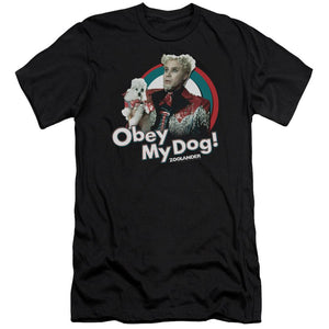 mugatu-from-zoolander-with-the-words-obey-my-dog-premium-canvas-brand-women's-t-shirt-in-black