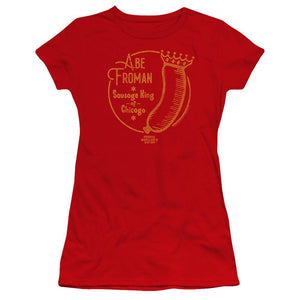 ferris-bueller-sausage-wearing-a-crown-says-abe-froman-the-sausage-king-of-chicago-premium-bella-brand-t-shirt-in-red