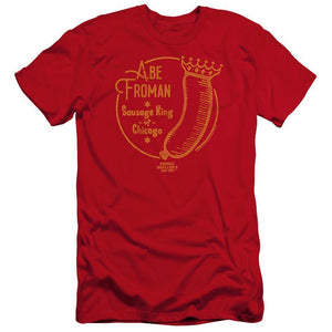 ferris-bueller-sausage-wearing-a-crown-says-abe-froman-the-sausage-king-of-chicago-premium-canvas-brand-t-shirt-in-red