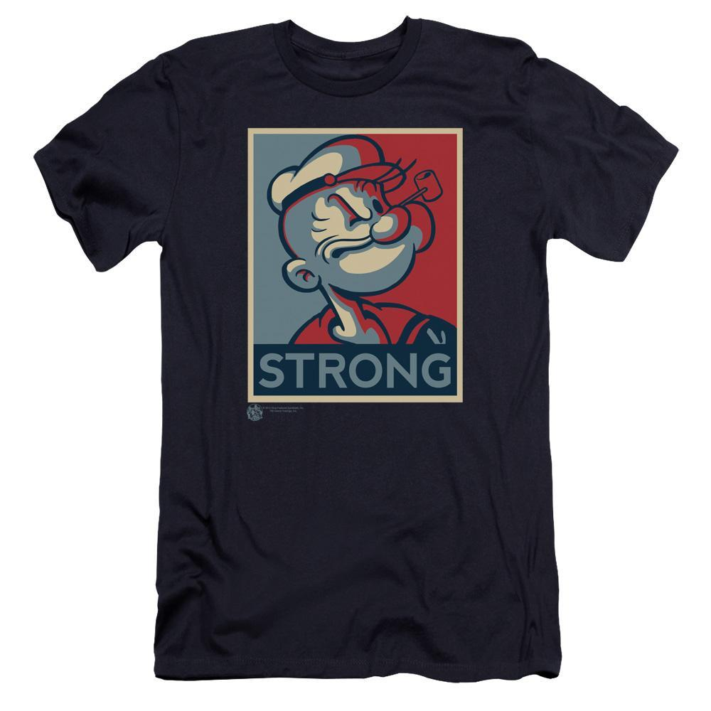 red-and-blue-colorblock-profile-of-popeye-with-the-word-strong-premium-canvas-brand-t-shirt-in-navy-blue