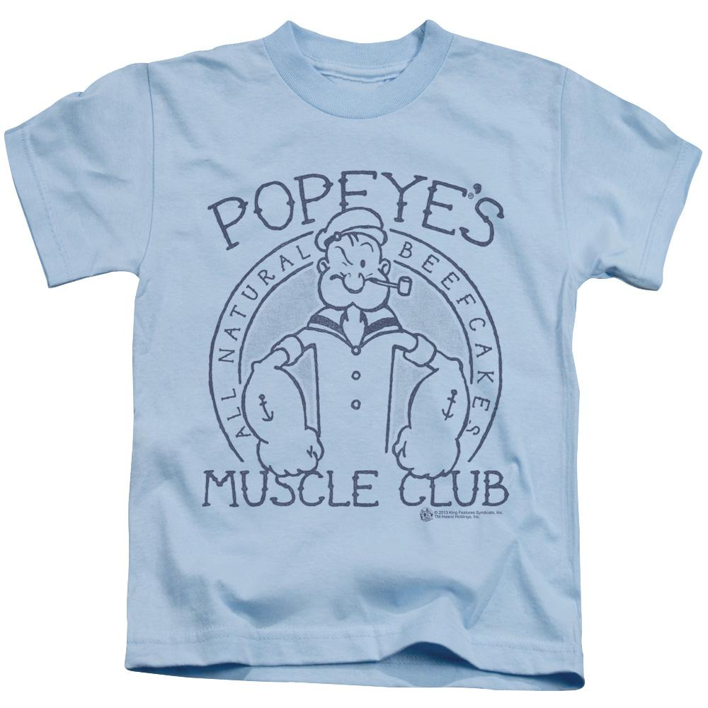 popeye-showing-his-muscles-with-the-words-popeye's-muscle-club-kids-t-shirt-in-light-blue