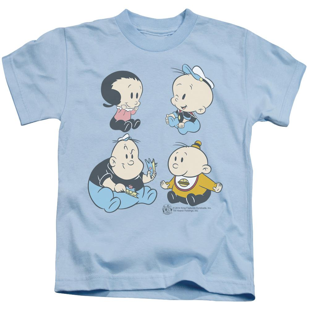 kids-t-shirt-in-light-blue-of-characters-from-popeye-cartoon-olive-oyl-popeye-bluto-and-wimpy-as-babies