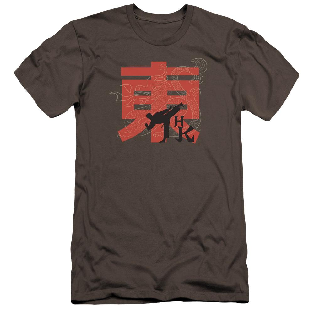 sketch-of-a-man-doing-a-high-karate-kick-superimposed-over-a-transparent-dragon-and-a red-chinese-character-premium-canvas-brand-t-shirt-in-charcoal