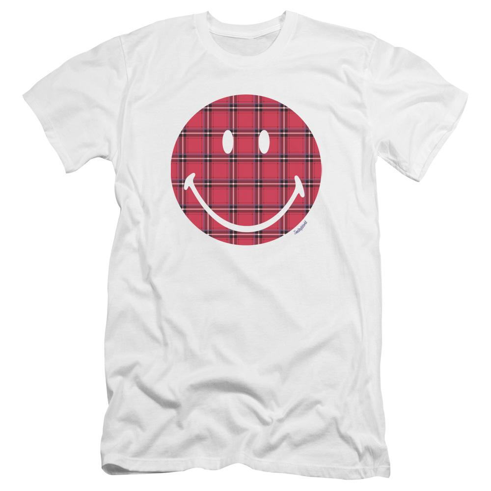 plaid-smiley-face-premium-canvas-brand-adult-t-shirt-in-white