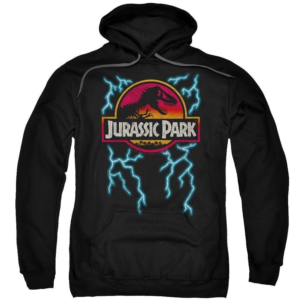 jurassic-park-dinosaur-surrounded-by-lightning-hoodie-in-black