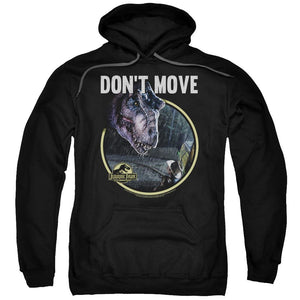 jurassic-park-movie-dinosaur-standing-over-a-man-says-don't-move-adult-hoodie-in-black