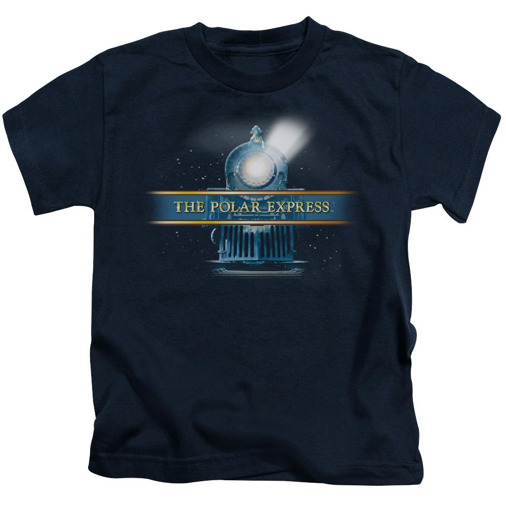 front-view-of-the-polar-express-train-with-headlight-shining-kids-t-shirt-in-navy-blue