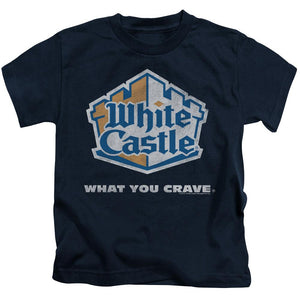 white-castle-logo-with-the-expression-what-you-crave-kids-t-shirt-in-navy-blue