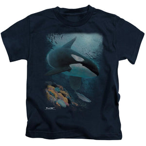 orca-whale-hunting-a-salmon-kids-t-shirt-in-black