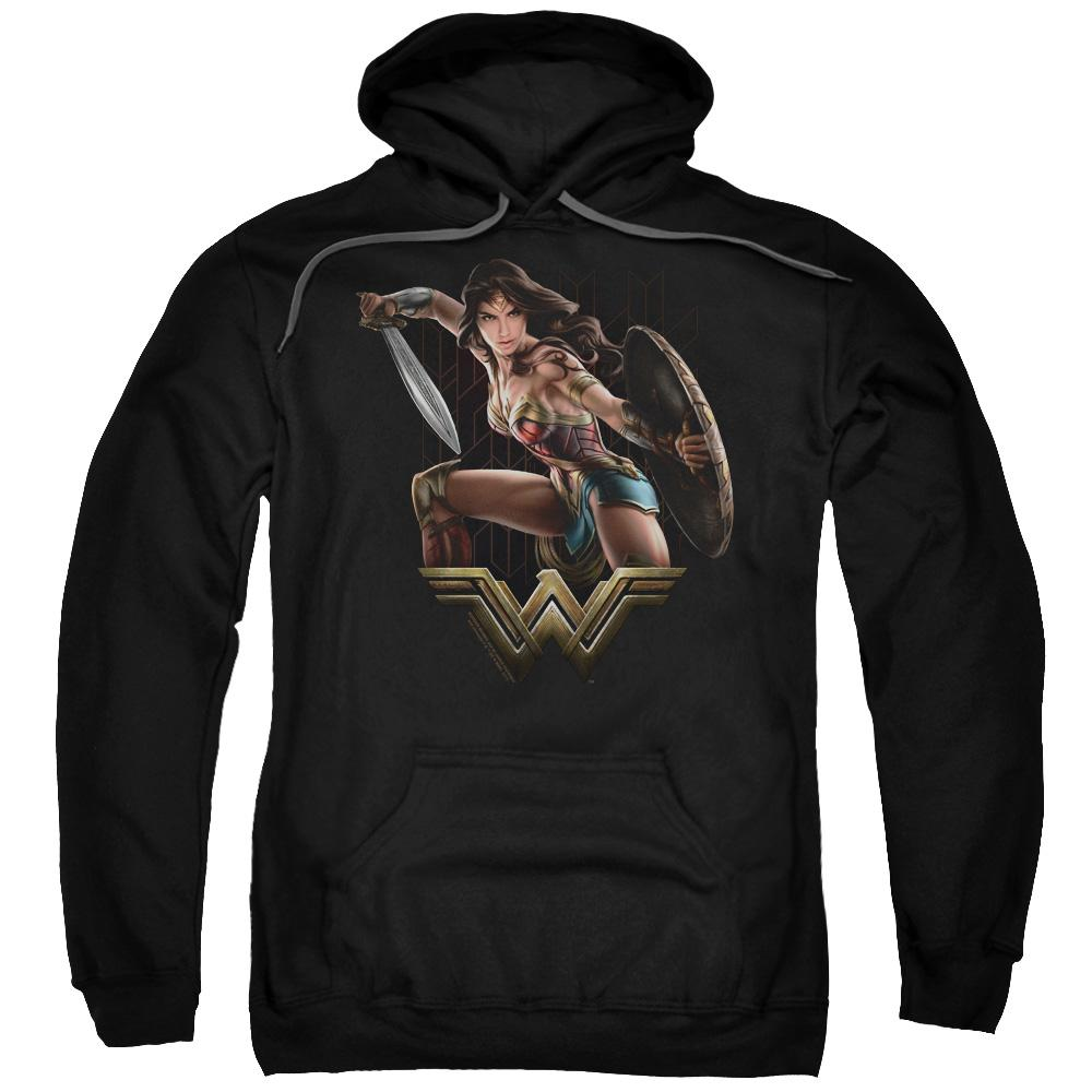 wonder-woman-movie-in-a-battle-stance-holding-a-sword-and-shield-adult-hoodie-in-black