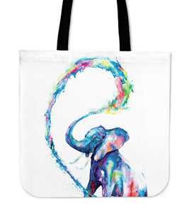 Colorful Elephant Linen Tote Bag