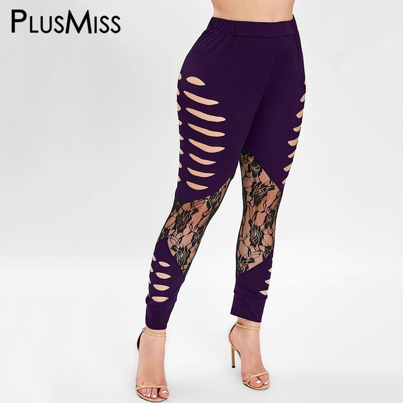 Plus Size Cut Out Lace Leggings