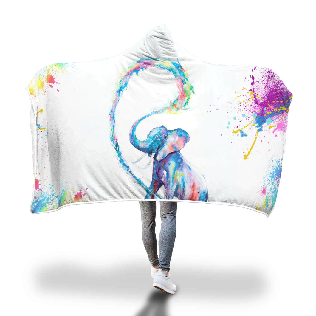 Colorful Elephant Hooded Blanket