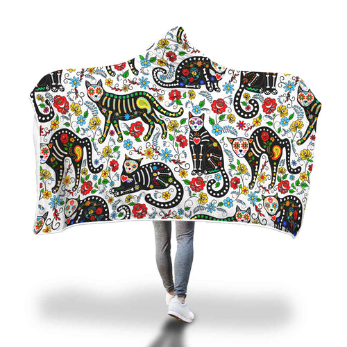 Calavera Cats Unique Hooded Blanket White