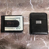 Black Genuine Leather Money Clip with Silver Plate