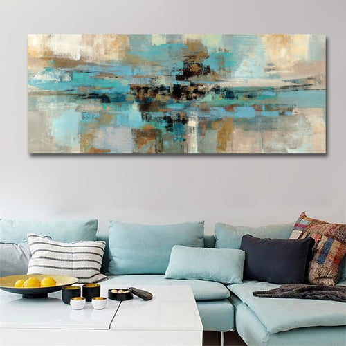 Abstract Long Canvas Painting ( Unframed)