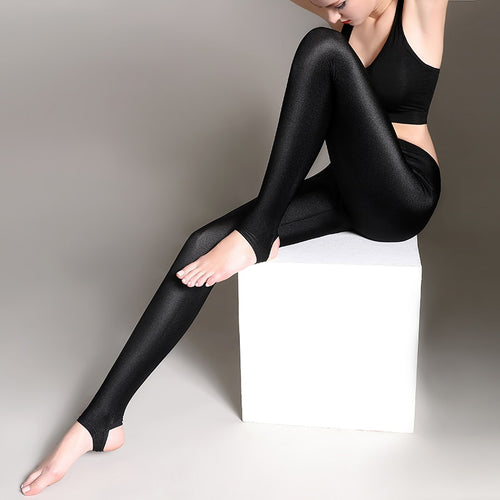 Push up Shiny Black Leggings for  Women