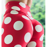 Polka Dot Red Print Leggings for Women