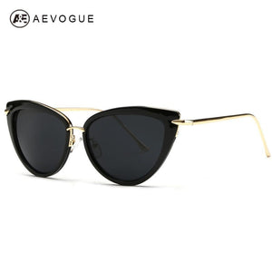 Pointed Tip Metal Temple Luxury Cat Eye Sunglasses