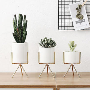 Nordic Style Iron Frame Plant Holder with Ceramic Planter