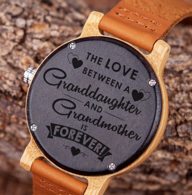 The Love Between for Granddaughter and for Grandmother Wooden Watch