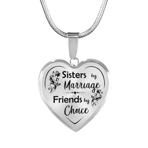 Sisters by Marriage for Sister-in-Law Heart Necklace
