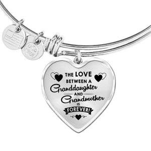 The Love Between for Granddaughter and for Grandma Heart Bangle