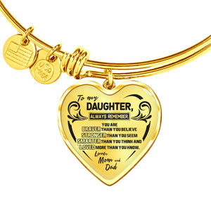 A Reminder from Mom and Dad to Daughter Heart Bangle