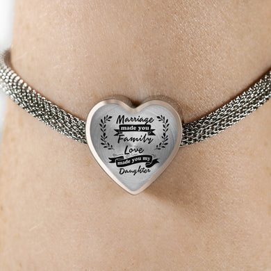 Marriage Made You My Daughter for Daughter-in-Law Heart Bracelet