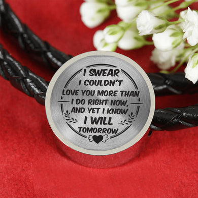 Love You More Than I Do Right Now for Girlfriend Leather Bracelet