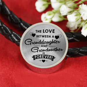The Love Between for Granddaughter and for Grandma Leather Bracelet