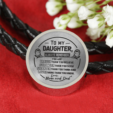 A Reminder from Mom and Dad to Daughter Leather Bracelet
