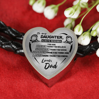 A Reminder from Dad to Daughter Leather Heart Bracelet