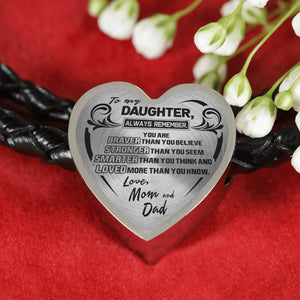 A Reminder from Mom and Dad to Daughter Heart Leather Bracelet