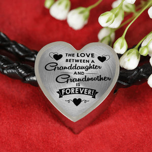 The Love Between for Granddaughter and for Grandma Heart Leather Bracelet