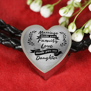 Marriage Made You My Daughter for Daughter-in-Law Heart Leather Bracelet