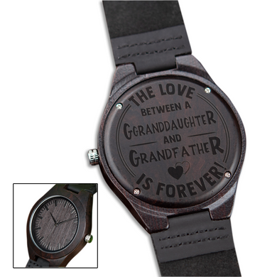 The Love Between for Granddaughter and for Grandfather Black Wooden Watch