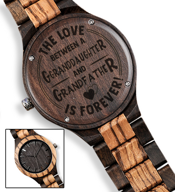 The Love Between for Granddaughter and for Grandfather Brown Wooden Watch