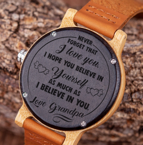Believe in Yourself for Granddaughter from Grandpa Wooden Watch