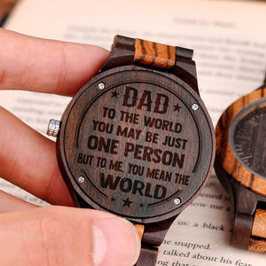 You Mean the World for Dad Brown Wooden Watch