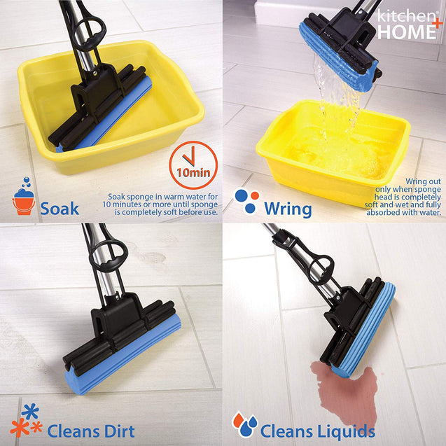 "PVA Sponge Mop – Super Absorbent 11"" Quadruple Roller PVA Foam Sponge Mop All Purpose Floor Cleaner"